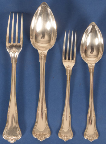 Delheid Frères silver cutlery set model 4