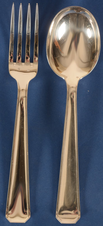 Delheid Frères 12 silver art deco forks and 12 spoons model 43