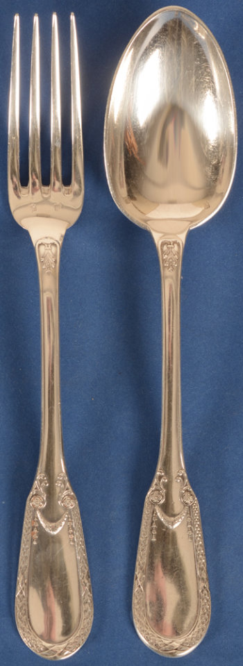 Delheid Frères 12 silver forks and 11 silver spoons model 31B Empire