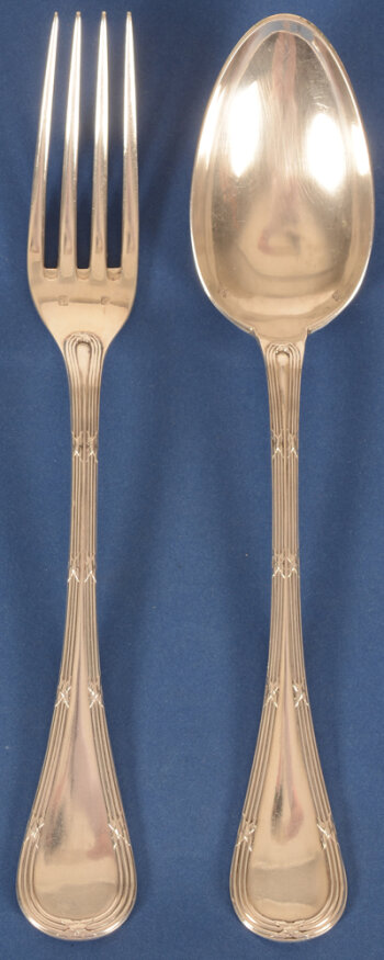 Delheid Frères model 30B rubans croises large silver forks and spoons