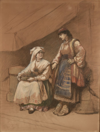 Cesare Dell'Acqua two Italian women near a market stall