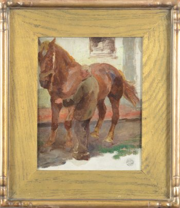 Jean Delvin tending a horse oil painting