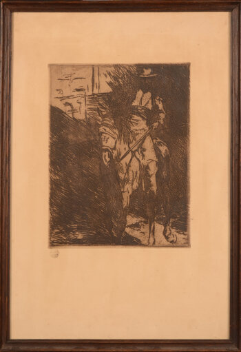 Jean Delvin picador and horse etching