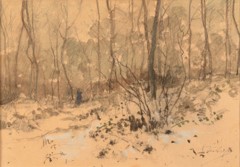 Gustave Den Duyts watercolour a winter scene
