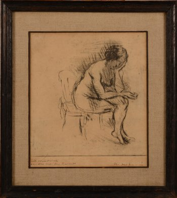Maurice Dupuis seated nude etching