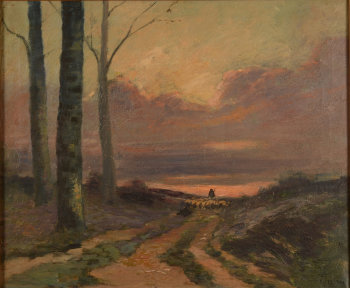 Albert Dutry shepherd in the evening sun