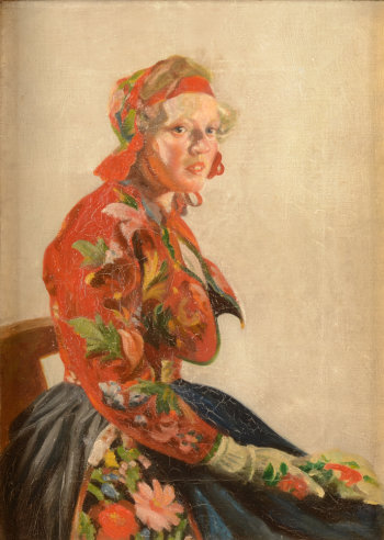 Unknown impressionist Polish girl in traditional dress
