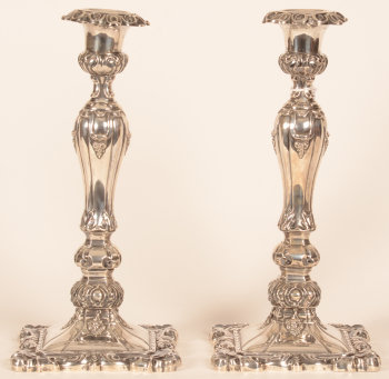 Jean-Baptiste Fallon a pair of silver candlesticks