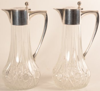 Gebruder Kuhn Pair of silver and crystal wine jugs