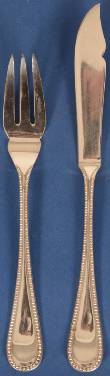 German silver fish cutlery set pearls