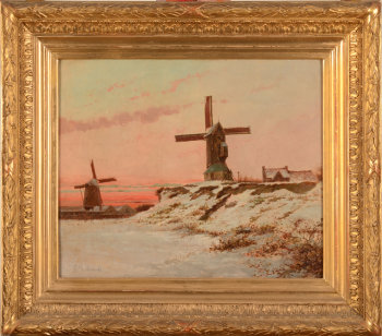 Edouard Govaere windmills  in the snow 1881