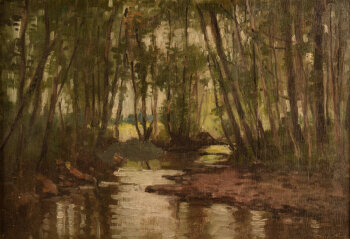 Charles Houben a small river in a forest 1927