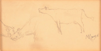 Modest Huys study drawing of cows