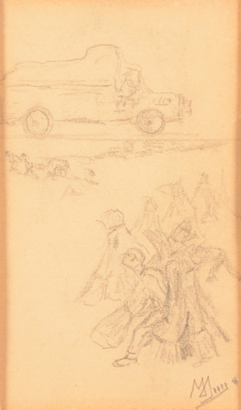 Modest Huys study drawing of a truck and field workers