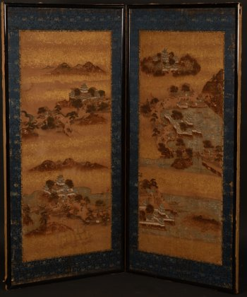 Japanese Screen landscape with buildings