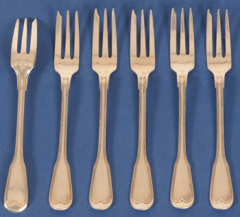 Lemaire and De Vernisy silver cake forks filet