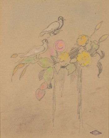Georges Lemmen Doves and flowers