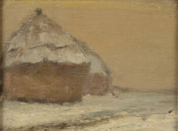 Piet Lippens a haystack in the snow