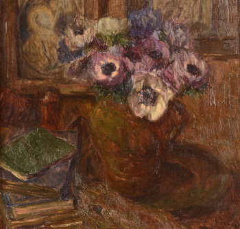 Louise Coupé, anemones and books