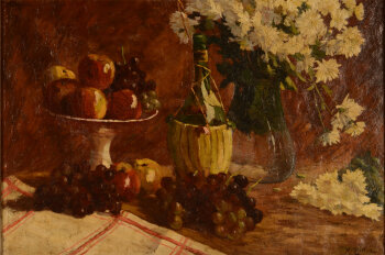 Rodolphe Lutter still life with grapes