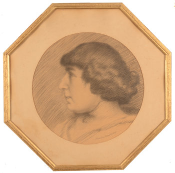 Maurice Martiny drawing female portrait