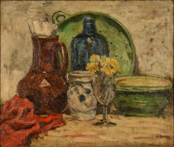 J. F. Minnens a still life with ceramics