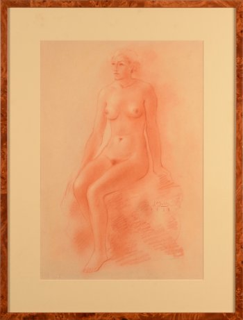 Jan Mulder sanguine drawing sitting nude