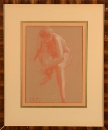 Jan Mulder sitting nude 1938 sanguine
