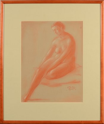 ​Jan Mulder sitting nude bent leg 1945