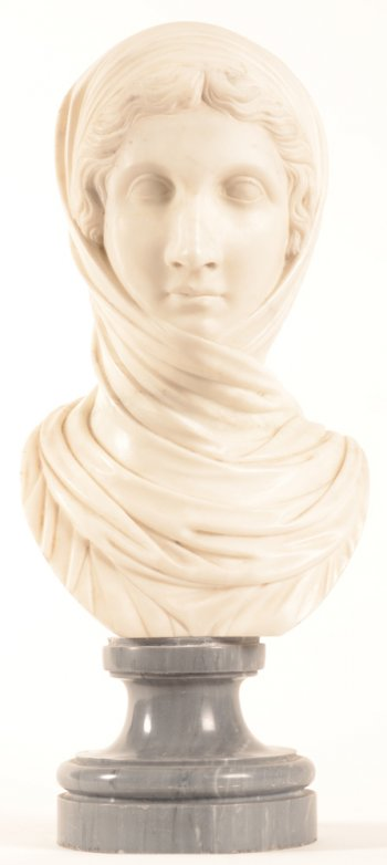 neo classical bust with veil