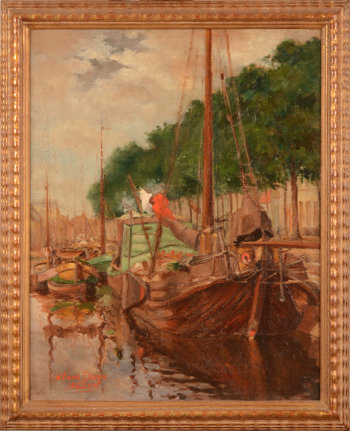 Nossent view of a canal with boats