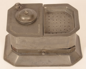 Pewter inkwell