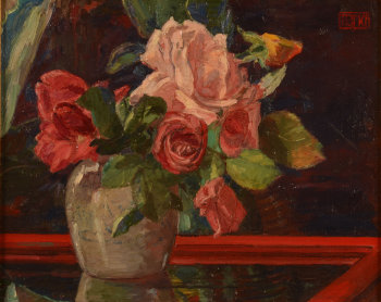 Francois Pycke Roses in a chinese ginger jar