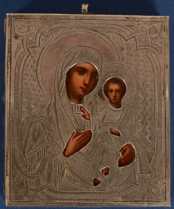 Russian traveling icon with silver rizza