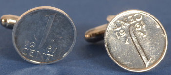 a pair of silverplated 1 Cent 1961 cufflinks