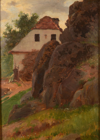 Milos Slovak landscape with a house near a rocky outcrop 1905