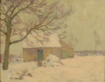 Octave Soudan a shed in the snow