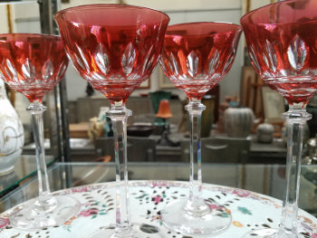 Set of 4 crystal orange-red roemers