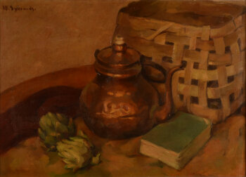 Wilfried Sybrands still life with artichokes