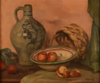 Wilfried Sybrands still life with apple and a stoneware jug