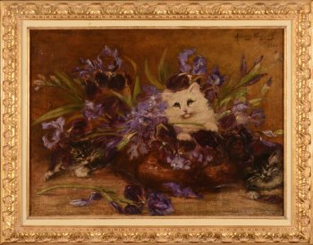 Albert Toefaert Kittens and Lilies