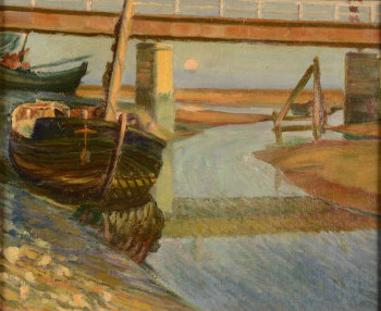 Unknown impressionist artist boats on a river at low tide