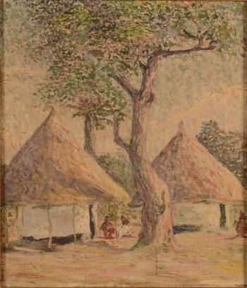 Unknown impressionist artist an African village