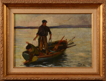 Unknown monogrammist fishermen on a boat