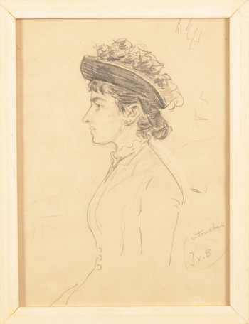 Georges Van der Straeten drawing profile of a woman
