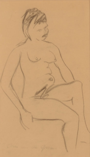 Arie Van de Giessen drawing sitting nude