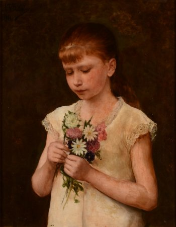 Nicolas Van den Eeden girl with flowers 1881