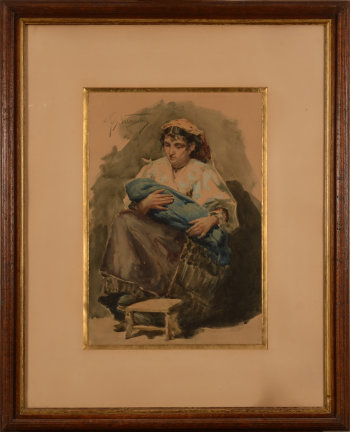 Joseph Vermeulen watercolour mother and child