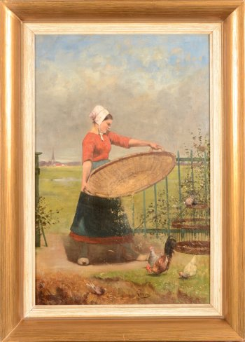 Louis Verwee sifting the corn
