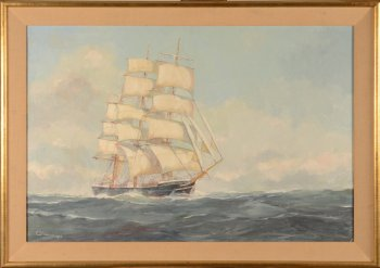 Camille Georges Verwee Seascape with ship